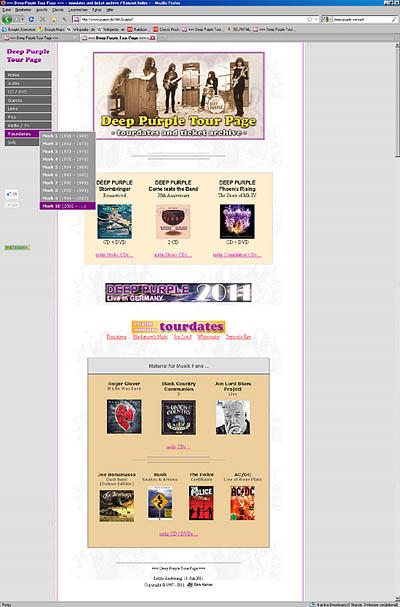 Deep Purple Tour Page